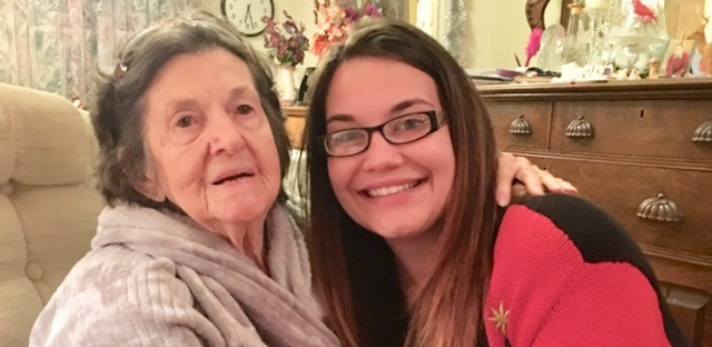 Smiling grandma with granddaughter
